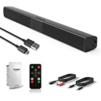 Barre de son, Haut-parleur, 20W Bluetooth TV Soundbar stéréo filaire HD Audio, Cinéma maison de son pour PC, téléphone portable,TV, tablette, son puissant, support RCA/AUX/Bluetooth, avec télécommande