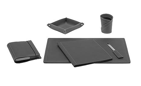 Ascanio set di accessori da scrivania in cuoio colore antracite