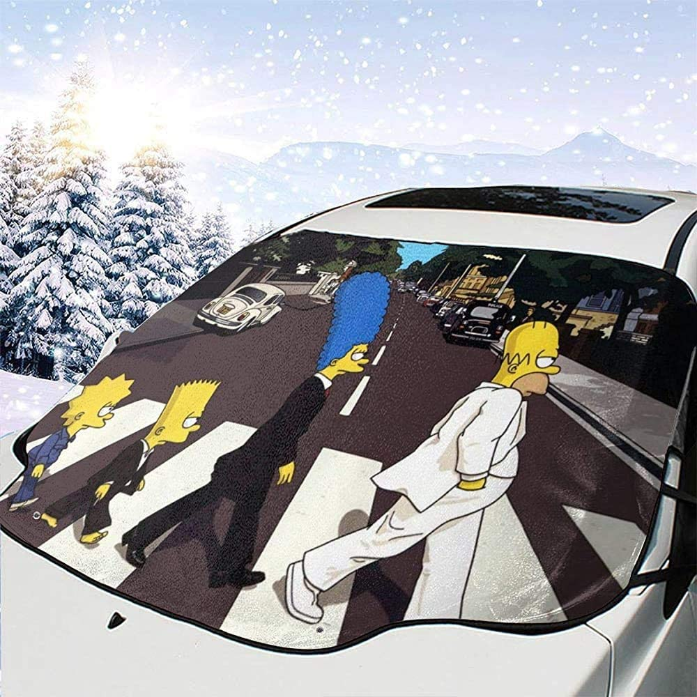 MaMartha Car Windshield Snow Cover Simpsons Parabrezza per Auto Copertura da Neve,Parasole per Auto,Rimozione del Ghiaccio Parasole per Protezione Invernale Prevenire i Graffi Impermeabile antigelo