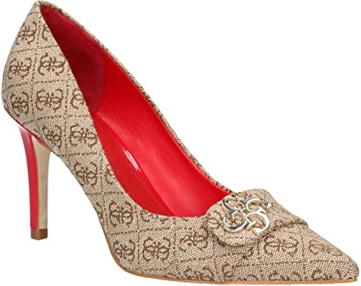 Estell Womens Logo Guess Beige Court Red Heels Shoes pxv1qISwd