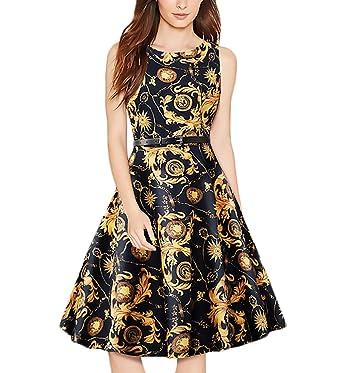 aa93d84b2a702f Kleider Damen Festlich Elegant Sommerkleid Ärmellos Rundhals Vintage  Rockabilly Kleid Kleid A-Linie Cocktailkleid Abendkleid