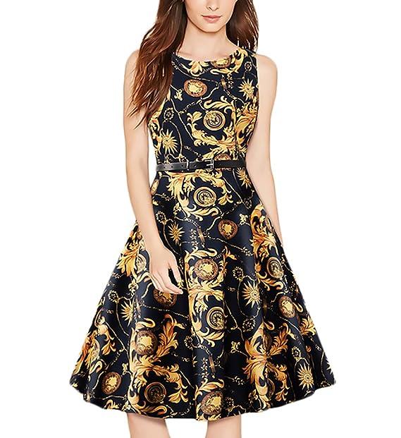 be3e9f756 Vestidos Fiesta Mujer Elegante Vestido Verano Sin Mangas Cuello Redondo  Vestido Rockabilly Casual Vestidos De Línea A Swing Vestido Coctel Vestido  De Noche ...