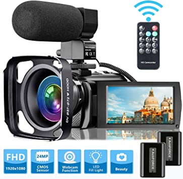 Amazon Com Video Camera Camcorder With Microphone Videosky Fhd 1080p 30fps 24mp Vlogging Youtube Cameras 16x Digital Zoom Camcorder Webcam Recorder With Hood Remote Control 3 0 Inch 270 Rotation Screen Electronics