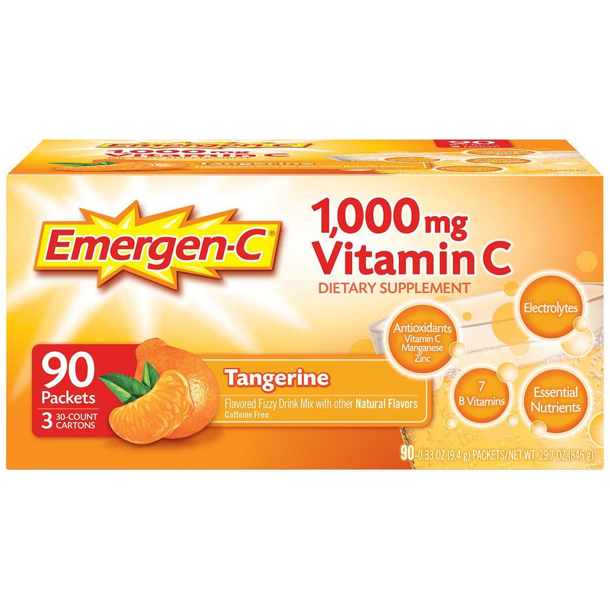 Emergen-C Tangerine Fizzy Drink Mix 90 Pack