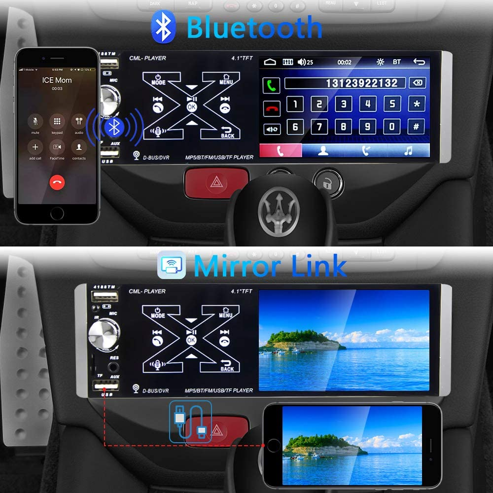 Backup Camera/Steering Wheel Control AMPrime Single Din Car Stereo ...
