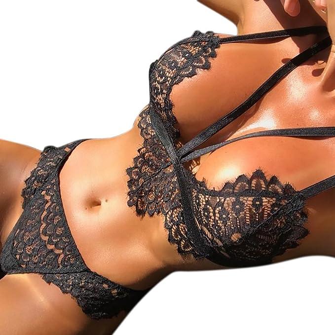 Lencería Mujer Erótica LANSKIRT Sexy Mujeres corsé Flores de Encaje Push Up Top Bra + Bragas Conjunto de Ropa Interior: Amazon.es: Ropa y accesorios
