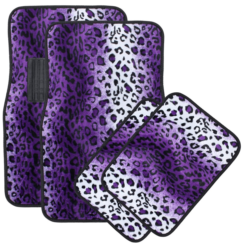 OxGord Universal Fit Front/Back Seat Leopard Carpet Mat - (Purple)