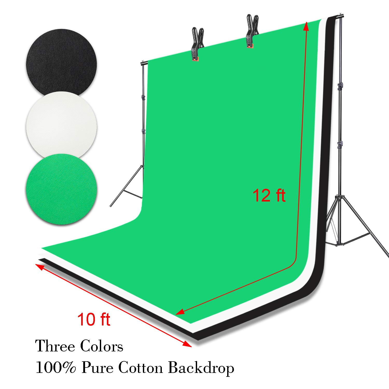 Emart Portable Photo Studio 9.2x10ft Background Support System with 3 Color Muslin Backdrops (Green Black White, 10ft X 12ft) for Portrait, Product Photography and Video Shooting by EMART (Image #5)