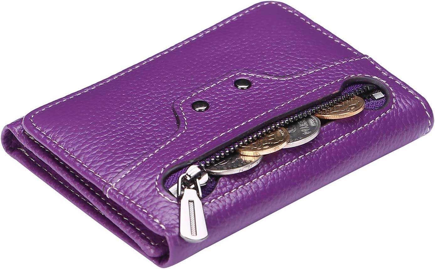 AINIMOER Small Leather Wallet for Women, Slim Compact Credit Card Holder RFID Blocking Wallets Organizer with Coin Pocket, Lichee Purple