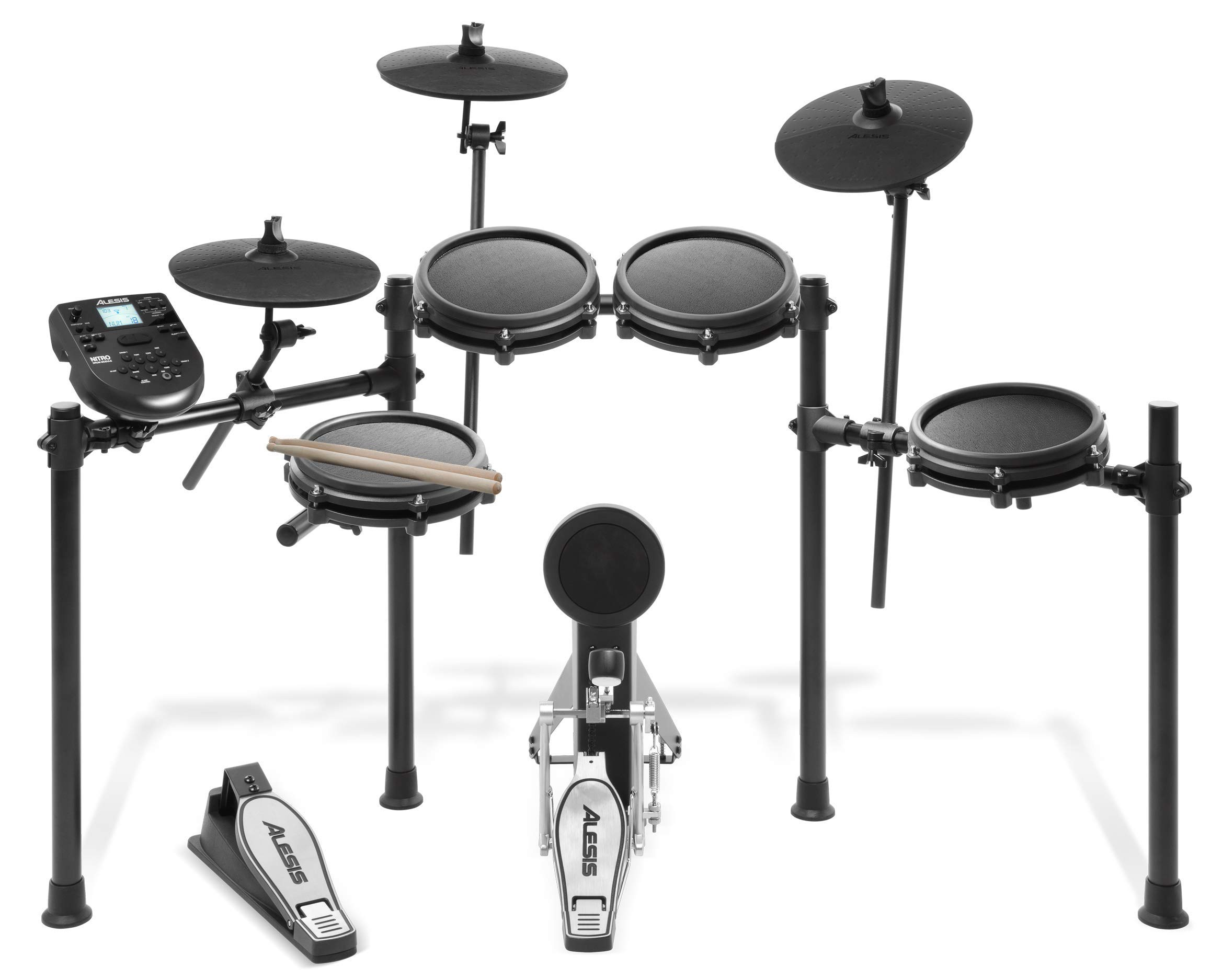 Alesis Drums Nitro Mesh Kit   Eight Piece All-Mesh Electronic Drum Kit With Super-Solid Aluminum Rack, 385 Sounds, 60 Play-Along Tracks, Connection Cables, Drum Sticks & Drum Key included (Renewed)