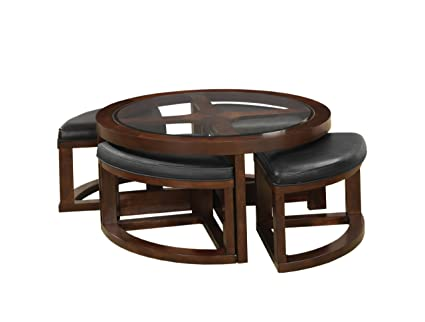 Furniture Of America Julius Round Coffee Table With 5mm Beveled Glass Top  And 4 Ottomans,