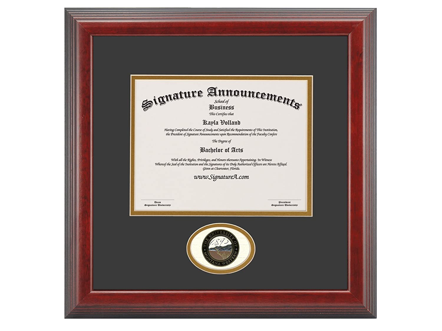 Sculpted Foil Seal Graduation Diploma Frame 16 x 16 Cherry Signature Announcements University-of-Montana-Western Undergraduate
