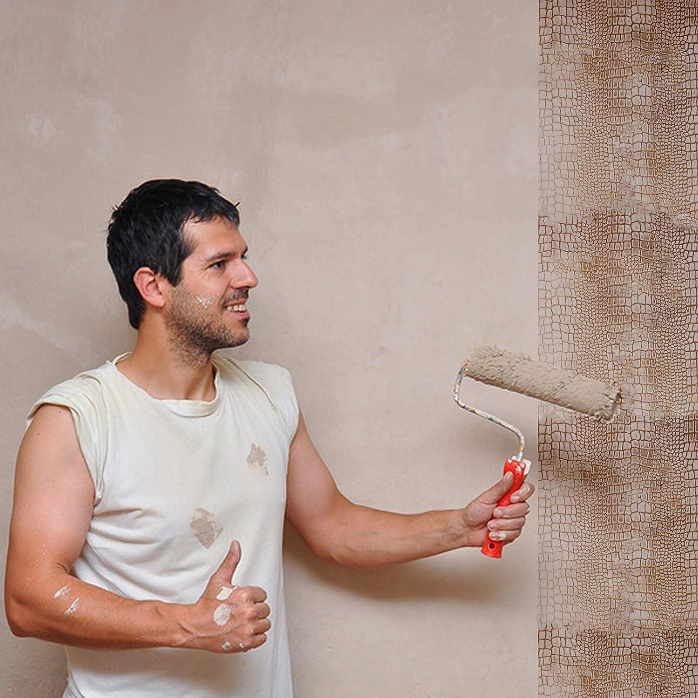 RETYLY 7 Rouleau de peinture en relief en forme de crocodile avec poign/ée pour d/écoration murale