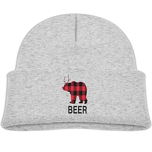 97535d6f7 Amazon.com: Boys Girls Beer Buffalo Plaid Elk Knitted Beanie Caps Cute Kids Warm  Hats Adjustable: Clothing