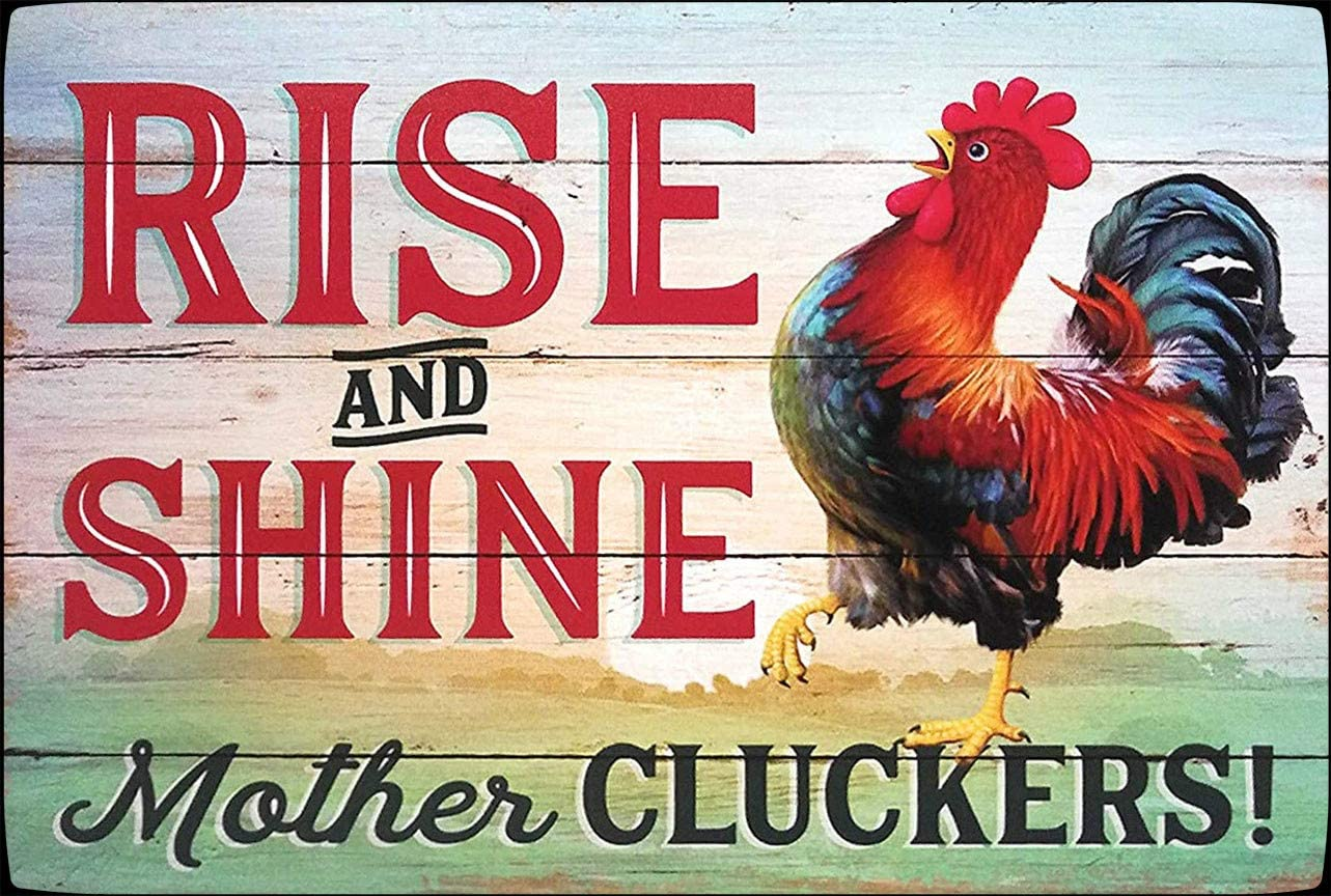 Rise and Shine Mother Chicken Decor Chicken Sign Funny Chicken Chicken Metal Tin Sign Wall Plaque for Home Kitchen Bar Coffee Shop 8x12 Inch