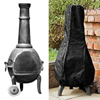Librao Outdoor Patio Chimenea Cover Waterproof Black Garden Heater Rain Sun UV Protector 1.2m High