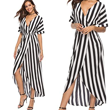 9c9199b2cff Women Dresses Plus Size deep v Neck red White Stripe Color high Waist hi-Low