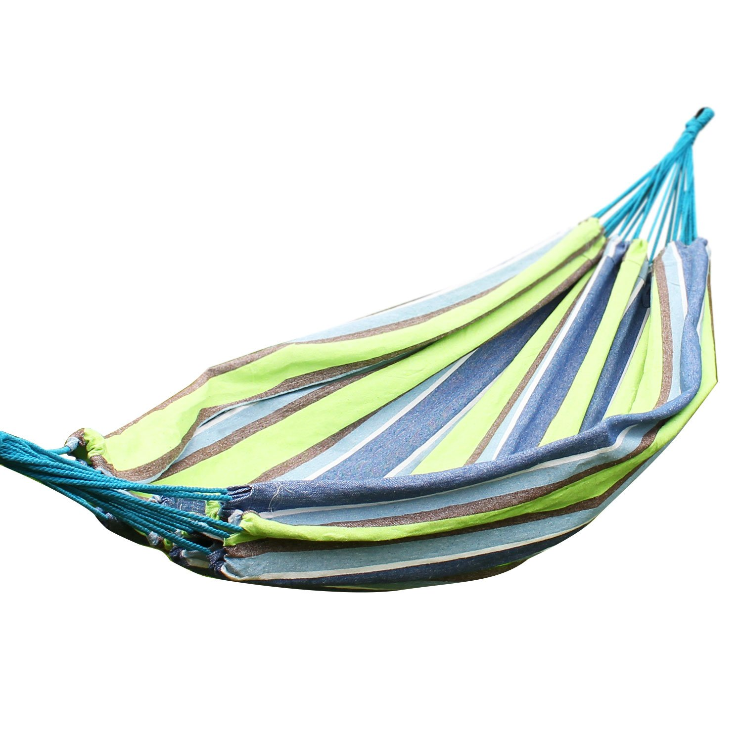 Adeco Naval-Style Cotton Fabric Canvas Sky Hammock Tree Hanging Suspended Outdoor Indoor Swing Sleep Bed, Teutonic White Color, 63 Wide