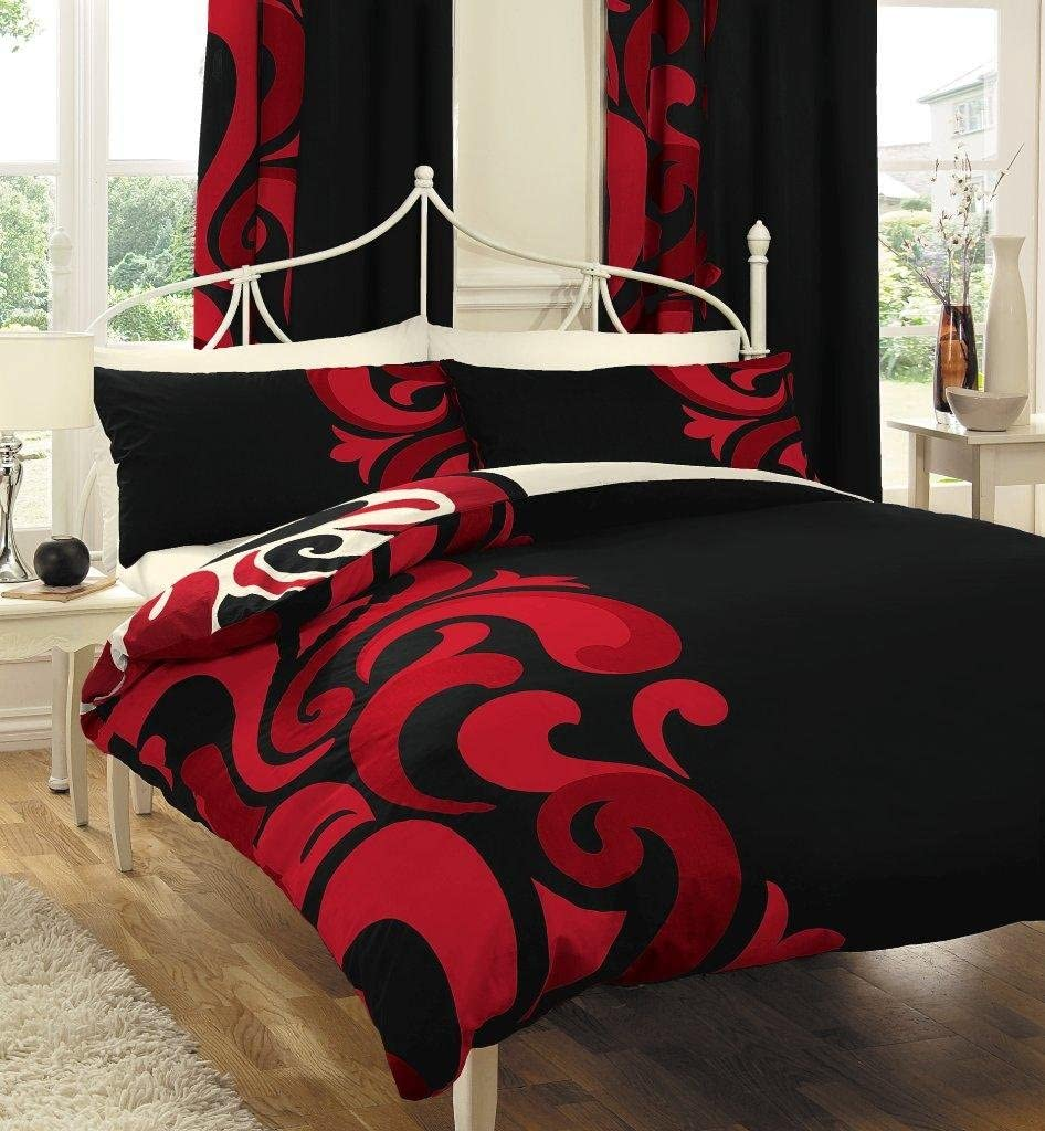 Homemaker Bedding Black White Red Bold Print Double Bed Set With Matching Curtains 66 X 72 Sheet Amazon Co Uk Kitchen Home