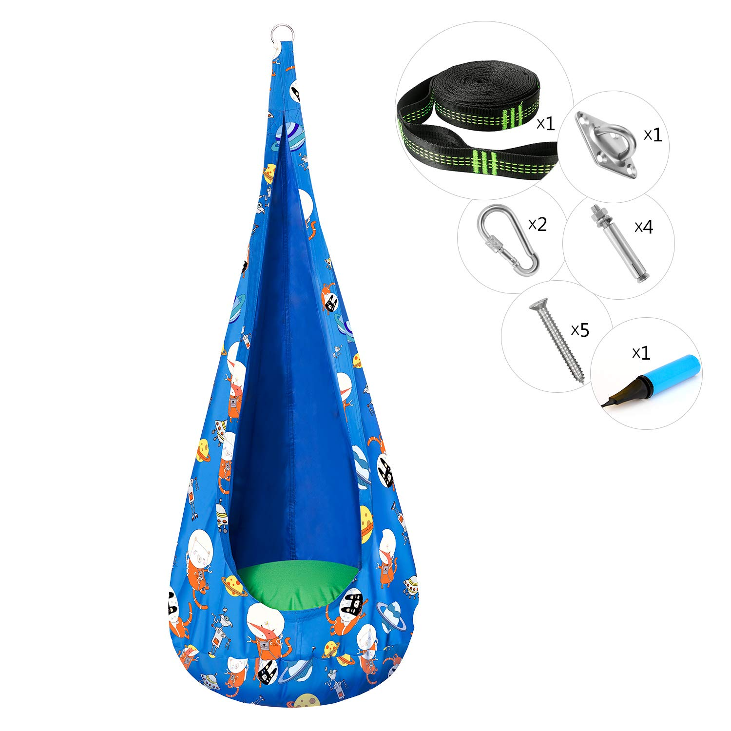 Greenstell Kids Pod Swing Seat with PVC Air Cushion and Hardware Kits, Child Hammock Chair Cartoon Printing Pattern,100 Cotton Child Hanging Chair for Indoor and Outdoor Navy Blue