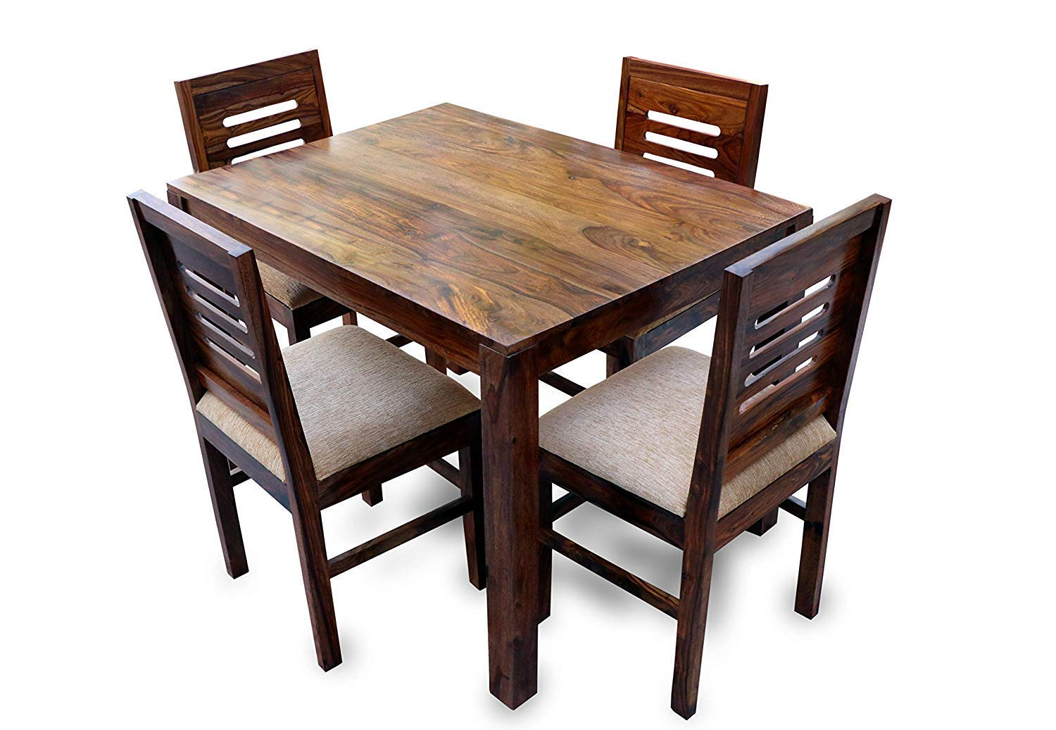 Dream Decor Square Dining Table Set 4 Seater With 4 Chairs Dining Table Set Home Dining Room Furniture Natural Teak Amazon In Home Kitchen