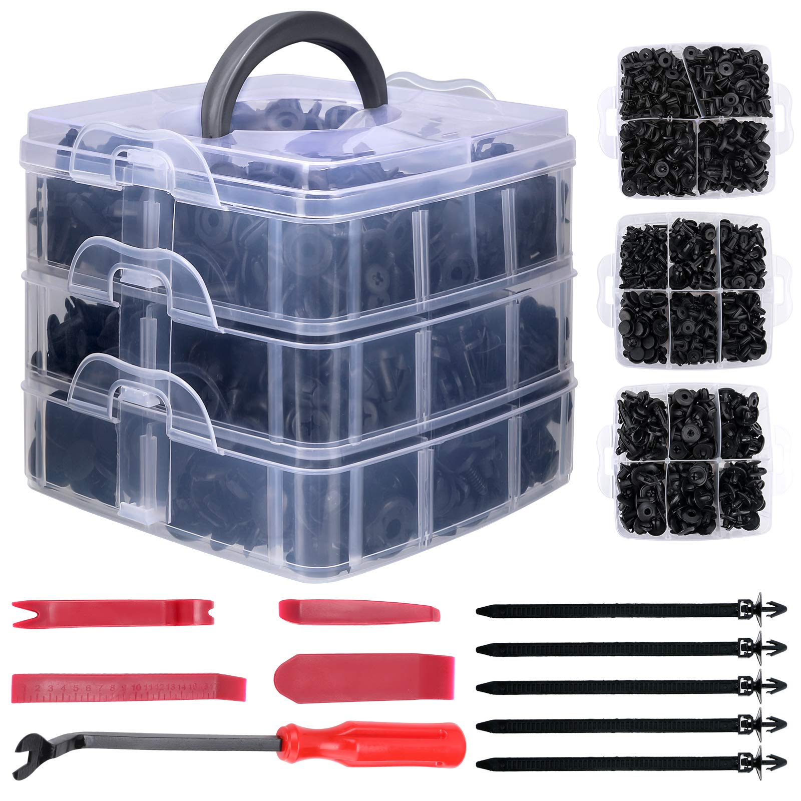 Gafild Car Retainer Clips, 635 Pcs 16 Sizes Car Trim Clips Plastic Fasteners Kit Nylon Clips Rivet Car Body Trim Clips Assortment with Fastener Remover Tools, Cable Ties, Bumper Push Retainer