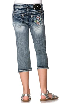 67a91f670 Amazon.com: Miss Me Girls Floral BlowOut Capri Jeans (Big Girls ...