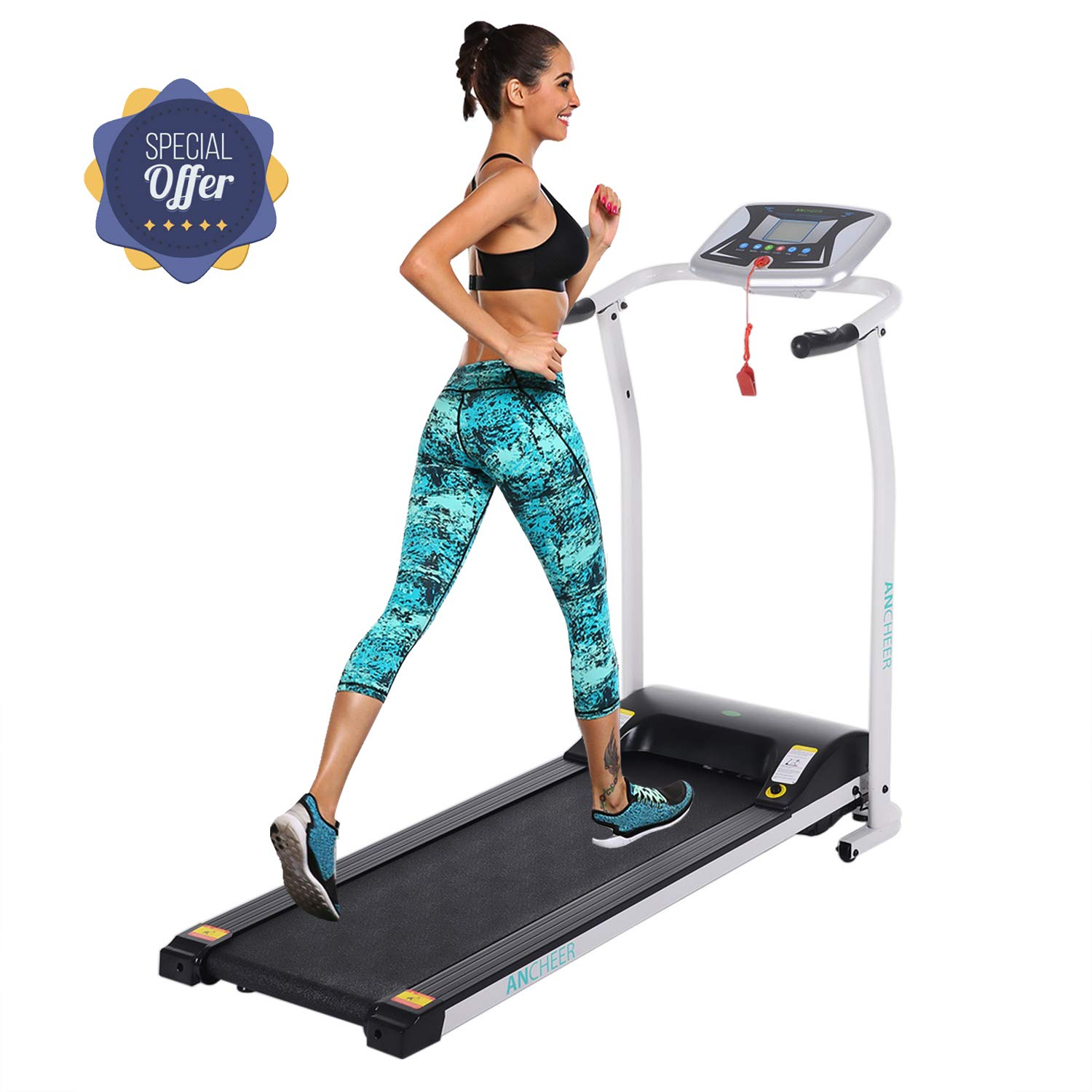 Folding Electric Treadmill Incline Motorized Running Machine Smartphone APP Control for Home Gym Exercise (Z 1.5 HP - White - Not with APP Control- Not Incline)