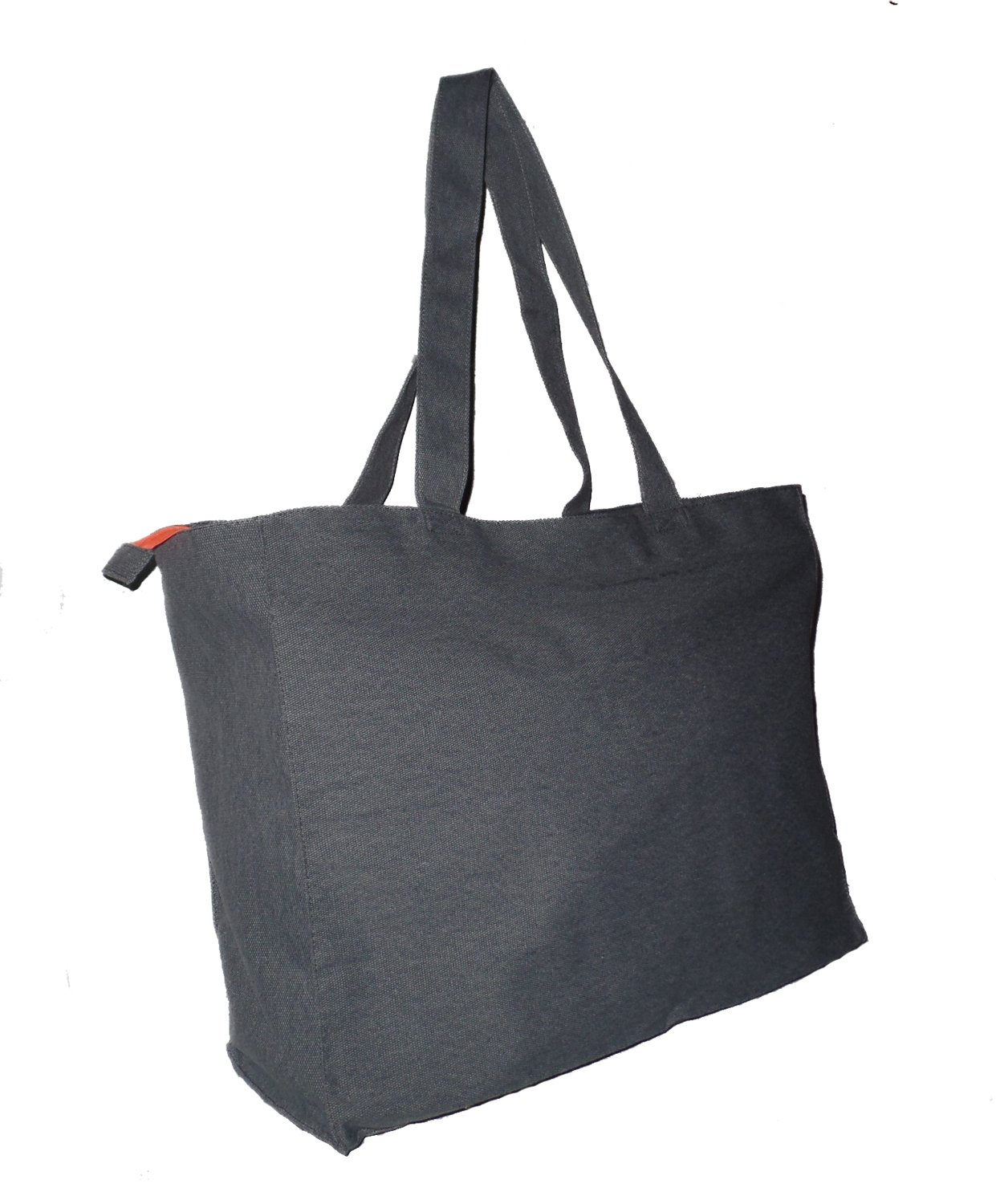 Extra Large Travel Day Tote Bag Heavy Duty Cotton Twill Zip Top (Denim Blue)