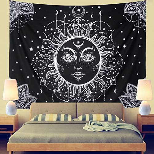 Psychedelic Tapestry Sun and Moon Tapestry Wall Hanging Fractal Faces Hippie Wall Tapestry Black White Celestial Tapestry Indian Hippy Bohemian Mandala Tapestry for Bed XL-70.8 94.5 , Black Sun