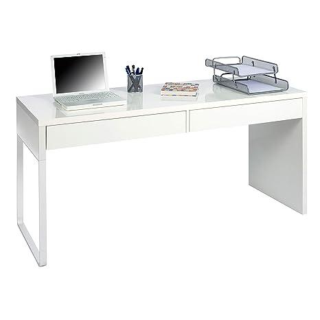 Habitdesign 002315A - Mesa Escritorio, Mesa de despacho Dos cajones, messa de Ordenador Color Blanco Artik, Modelo Touch, Medidas: 138 cm (Largo) x 50 ...