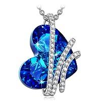"""Alex Perry""""Corazón del Océano"""" Plata de Ley 925 [Bermuda Azul] Fabricados con Cristales Swarovski, Colgante Collar Mujer, Libre de Alérgenos, Cadena de Extensión de 45+6cm"""