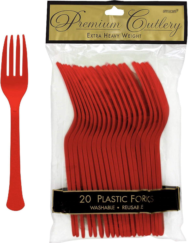 Vibrant Apple Red Premium Plastic Forks, 20 Ct.