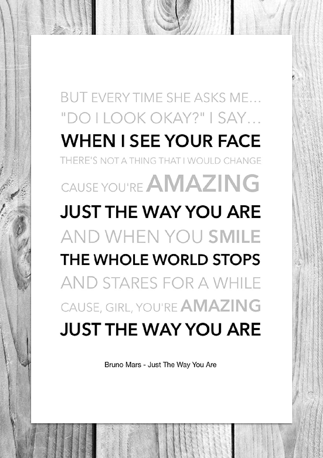 Bruno Mars - Just The Way You Are - Funky Lyric Art Print