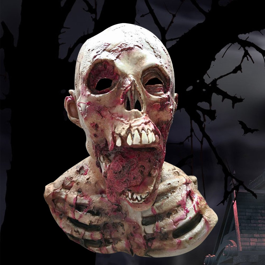 LUOEM Masque dHalloween Sang Tombant Cr/âne Humain Latex Masque En Caoutchouc Horreur Monstre Zombie Costume Parti Masque Halloween Costumes