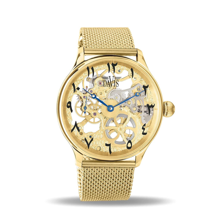 2a84e34c874c Davis Reloj Esqueleto para Unisex Adultos de Mecánico con Correa en Acero  Inoxidable 0895MB East  Amazon.es  Relojes