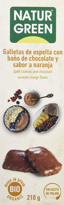 NaturGreen Galletas de Espelta con Baño de Chocolate y Sabor a Naranja