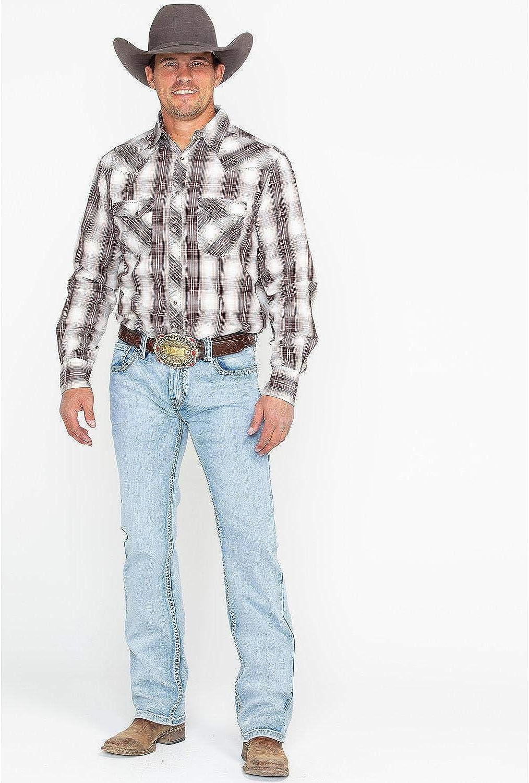 Rock /& Roll Cowboy Men/'s Pistol Reflex Light Wash Straight Leg Jeans M1P8668