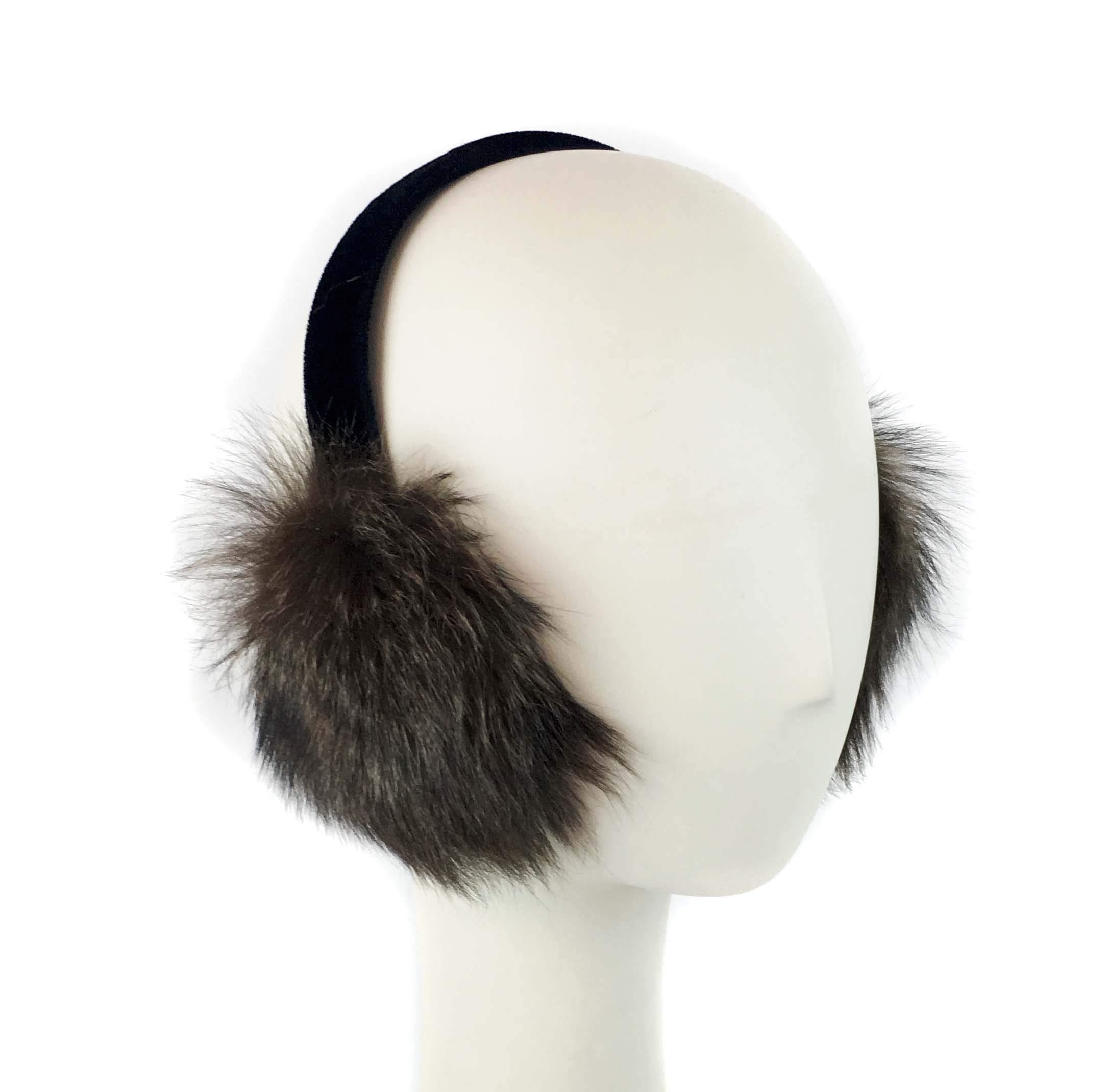 Toscana Sheepskin Fur Earmuff on Velvet Band (Brown Raccoon)