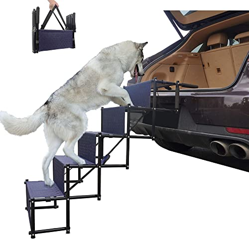 maxpama Adjustable Lightweight Upgraded Pet Dog Ramp for Car or SUV,Couch and High Bed, Portable Ladder Stairs with 4 Steps, Folding Accordion Design with Durable Metal Frame