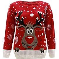 Jersey para niños y niñas con diseño navideño del reno Rudolf, talla 2-14