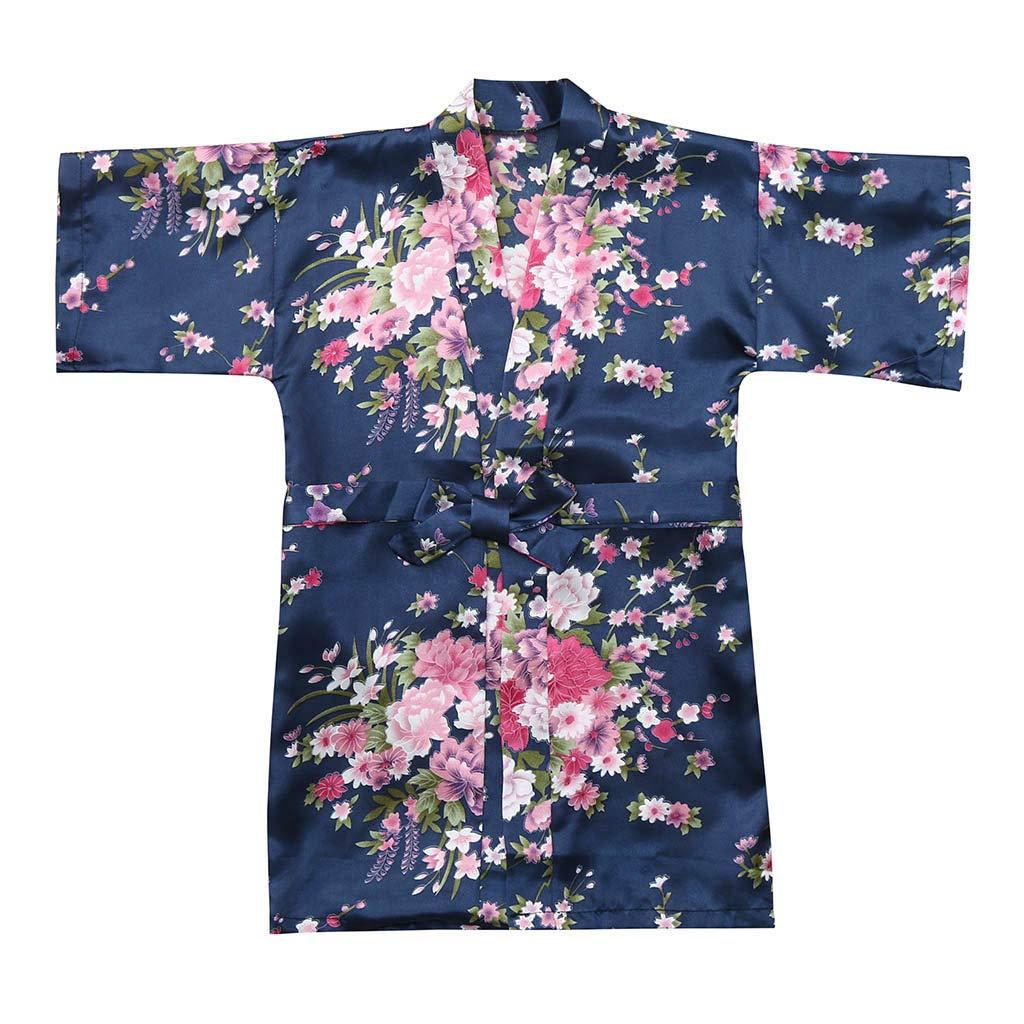 Tianya Kimono Di Seta Floreale Fantasia Vestaglia Accappatoio Pigiama Per Le Ragazze Del Bambino Del Bambino