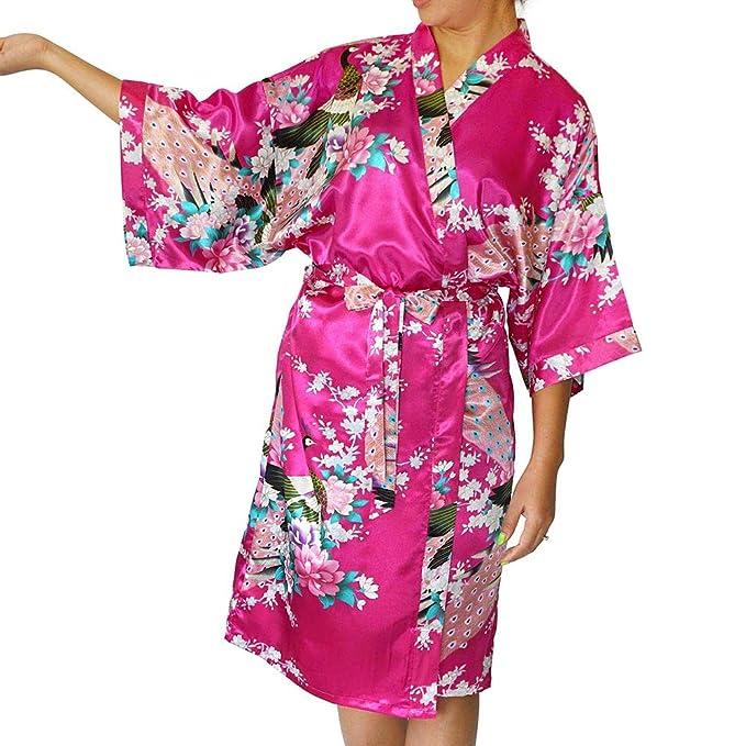 a25606b8d319 Womens Satin Kimono Robe - Asian and Oriental Peacock Bathrobe (Rich Pink  Bathrobe)