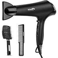 SOVARCATE 2200W Professional Salon Hair Dryer AC Motor Negative Ionic Overheating Protection Low Noise 3 Heat 2 Speed with Diffuser and 2 Concentrator Frosted Black - Include Hair Brush Set…