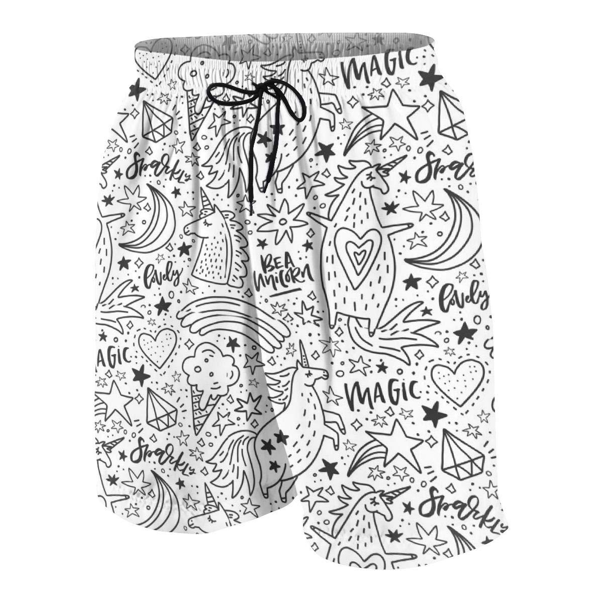 Men/'s Swim Trunks White Unicorn Beach Board Shorts Swimming Short Pants Running Sports Surffing Shorts