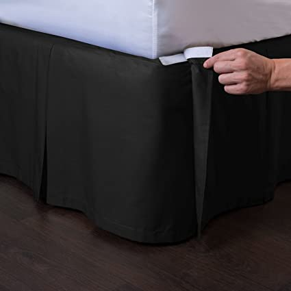 Amazon Com Ashton Detachable Bedskirt King Size Black 21 Drop