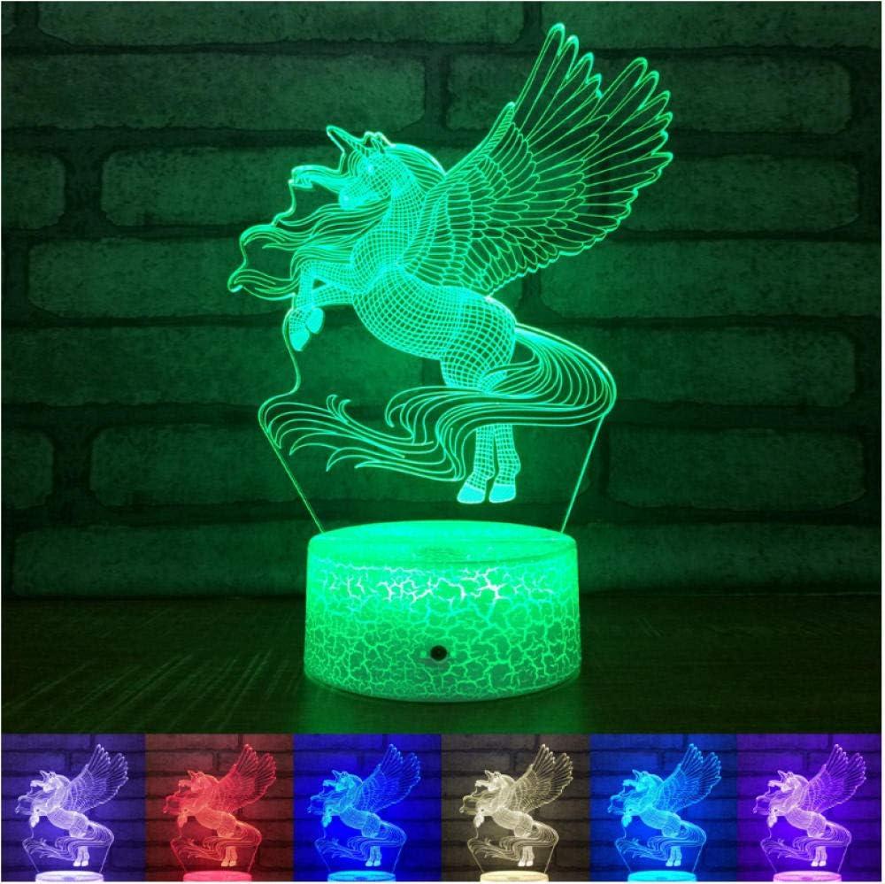 ambiente 7 colores cambiantes ilusión 3D luces nocturnas unicornio táctil LED lámpara de mesa decoración de dormitorio para niños luces de caballos con altavoz bluetooth navidad