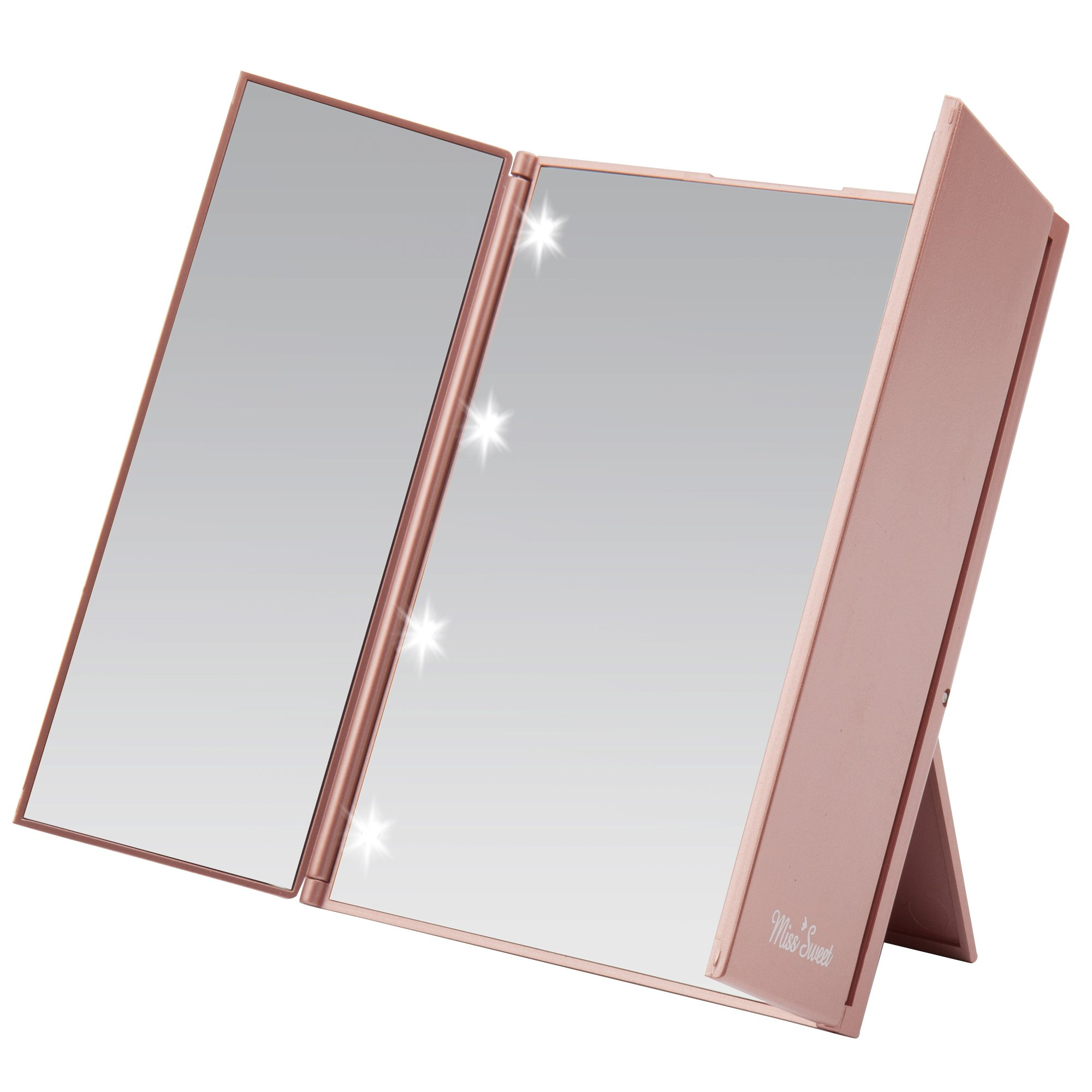 Miss Sweet Led Lighted Tri-Fold Makeup Mirror Travel Mirror Compact Pocket Mirror Compact Mirror for Cosmetic Makeup (Gold Rose)