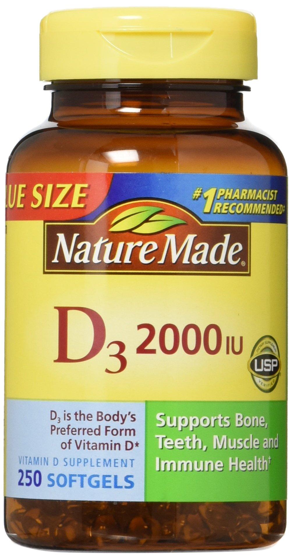 Nature Made, Vitamin D3 2,000 I.U. Liquid Softgels, 250-Count (Pack of 2)