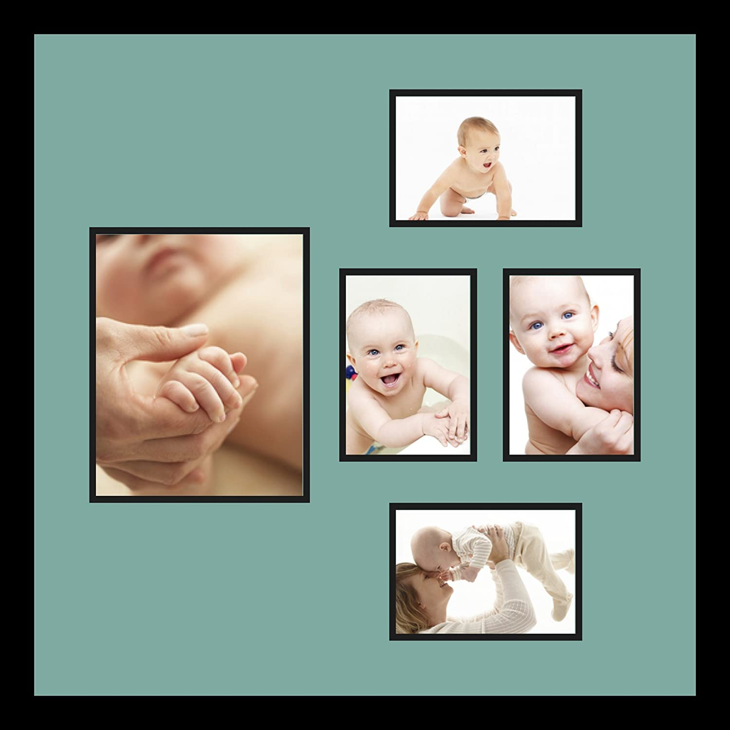 Art to Frames Double-Multimat-332-818//89-FRBW26079 Collage Photo Frame Double Mat with 1-8x10 and 4-5x7 Openings and Satin Black Frame